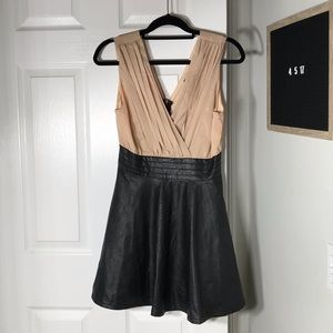 Blush and Leather Skirted Dress M Forever 21
